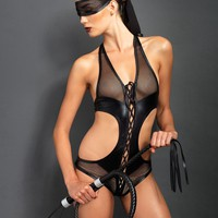 2pc. Lace Up Crotchless Bondage Teddy And Eye Mask