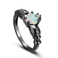 eejart  Elegant Heart Cut Rainbow Opal Claddagh Ring Fashion White CZ Wedding Jewelry Black Gold Filled Engagement Promise Rings