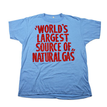 """Vintage 80s """"World's Largest Source of Natural Gas"""" T-Shirt Made in USA Mens Size Medium"""