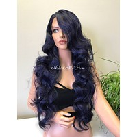 """Blue Hair 30"""" Swiss Lace Front Wig - Mermaid"""