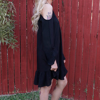 Ally Cold Shoulder Dress - Black