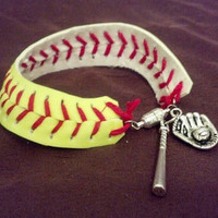 Softball Bracelet FREE SHIPPING by BASEBALLWISHES on Etsy