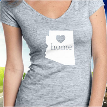 Arizona Home T-Shirt - V-Neck - State Pride - Home Tee - Clothing - Womens - Ladies