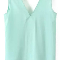 V-Neckline Pale Blue Tank Top