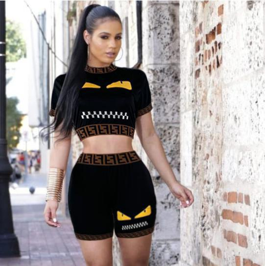 Image of FENDI Women Casual Short Sleeve Top Shorts Two-Piece
