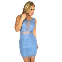 Wonderland Lace Dress In Baby Blue