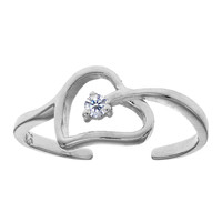 Sterling Silver Rhodium Plated Open Heart With CZ Cuff Style Adjustable Toe Ring