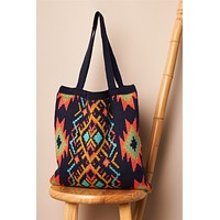 Navy Multi-Colored Tribal Print Knit Boho Tote Bag