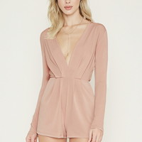 Pleated V-Neck Romper
