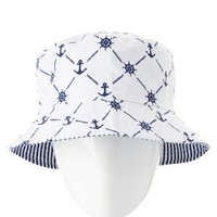 Striped & Anchor Print Reversible Bucket Hat