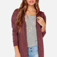 Volcom Lived In Long Zip Heather Burgundy Sweater