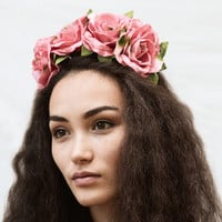 Velvet Coral Pink Rose Crown -  Frida Kahlo Flower Crown, Rose Headpiece, Rose Flower Crown, Pink, Rose Headband, Day of the Dead, Costume