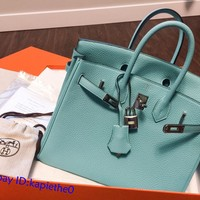 Hermes-Birkin-35-Turquoise-Leather-Palladium-Hardware-Shoulder-Bag
