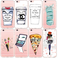 Soft Ultra Thin Case for iphone 6 6S 5S SE 6Plus Cover Coque Modern Coffee Cup Lipstick Heels Transparent TPU Back Cover Funda