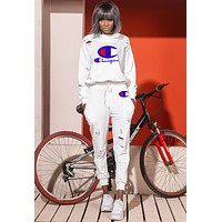 Champion Fashion Women Casual Print Sweater Top Pants Trousers Set Two-Piece Sportswear White