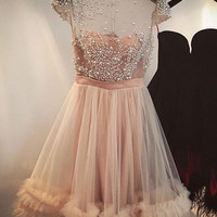 Elegant Homecoming Dresses, A-line Sheer Tulle Champagne Capped-Sleeves Beading Homecoming Dresses
