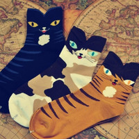 Cute Kitty Short Cotton Socks Set (3 pairs)