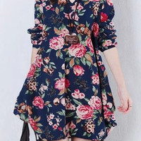Deep Blue V-Neck Long Sleeve Floral Print Plus Size Dress