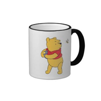 Winnie the Pooh Bear honey port guarding from bee Ringer Coffee Mug