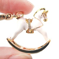 Rocking Horse Shaped Pendant Necklace in White and Gold | Limited Edition Jewelry