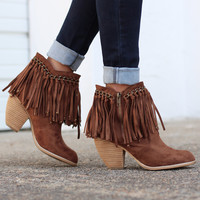 Not Rated: Ayita Fringe Booties {Tan}