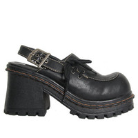 90s Vegan Leather Chunky Shoes - Slingback - Lace Up - Platform Shoe - Goth Boots - 90s Grunge Boots - Chunky Platform Shoes Size 8 Clueless