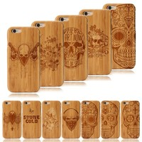 Skull Style Phone Case Natural Bamboo Wood And PC For iPhone 7P/Samsung S7 Edge