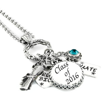 Graduation Necklace with Birthstone