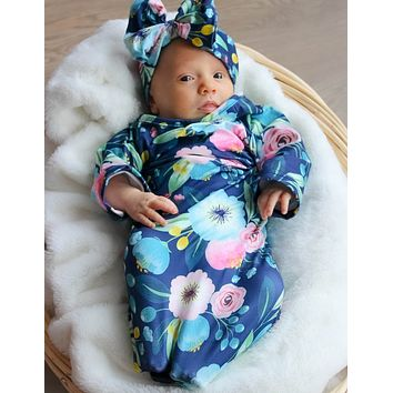 Navy Floral Baby Gown and Bow Headband