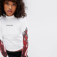 Wasted Paris High Necktop With Flame Print And Burning Youth Text at asos.com