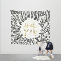 Treat Yo Self – Black & Gold Wall Tapestry by Cat Coquillette
