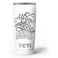 Love and Chocolate - Skin Decal Vinyl Wrap Kit compatible with the Yeti Rambler Cooler Tumbler Cups