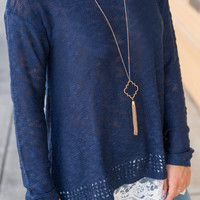 For The Love of Lace Top, Navy