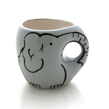 Elephant mug, trunk shaped handle, novelty mug, gift for elephant lover or collector, collaboration with 13 inspired