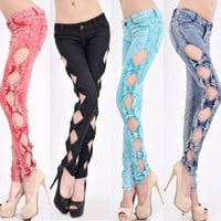 Sexy Lady Vintage Side Bow Cutout Ripped Denim Jeans = 1929630852