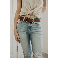 Double Or Nothing Cognac Belt - Silver