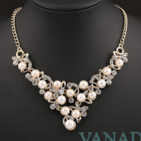 Crystal Pearl Statement Necklace Bib Necklace Chunky Necklace