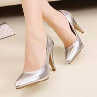 Womens Dance Pointed Toe High Heels Pump Court Stiletto Shoes Shiny Club Wedding