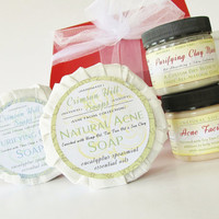 Acne Skin Care Set - Acne Soap, Purifying Clay Soap, Acne Facial Moisturizer, Purifying Clay Mask