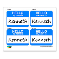 Kenneth Hello My Name Is - Sheet of 4 Stickers