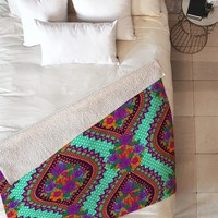 Aimee St Hill Ivy Teal Fleece Throw Blanket