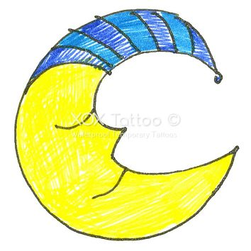 Whimsical Goodnight Moon Waterproof Temporary Tattoos Lasts 3 to 4 days Choose Small, Medium or Large Sizes