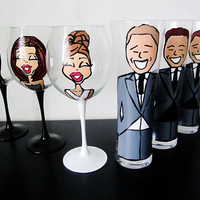 Bridal party Custom Hand Painted Wedding Glassware by Jdboutique
