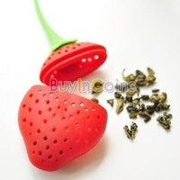 Silicone Loose Strawberry Tea Leaf Diffuser Strainer Herbal Spice Infuser Filter