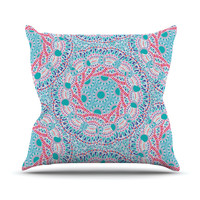 "Miranda Mol ""Prismatic White"" Blue Pink Abstract Throw Pillow"