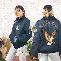 Vintage 50s 60s USAF Flight Bomber Jacket With Eagle Patches || United States Air Force Jacket || Vermont ||Size Mens Medium
