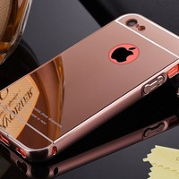 iPhone 5C Case,DAMONDY Luxury Metal Air Aluminum Bumper Detachable + Mirror Hard Back Case 2 in 1 cover Ultra-Thin Frame Case For iPhone 5C(Rose)