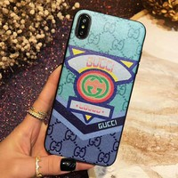 GUCCI Fashion Women Men Simple Mobile Phone Cover Case For iphone 6 6s 6plus 6s-plus 7 7plus 8 8plus X XsMax XR Blue