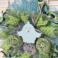 Easter Egg Wreath Happy Easter Decor Spring Easter Wreath Easter Blue Chick Decoration Pink Spring Wreath Small Easter Wreath Spring Decor