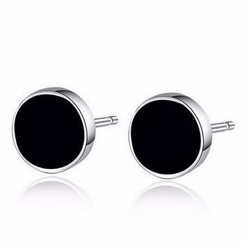 Men Stud Earrings Ear Jewelry 2Pcs Round Ear Stud Men Black Plastic Metal Punk Style SM6